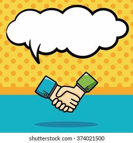shake hands doodle, speech bubble