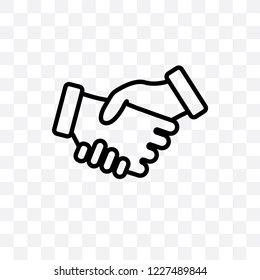 Shake hands vector linear icon isolated on transparent background, Shake hands transparency concept can be used for web and mobile