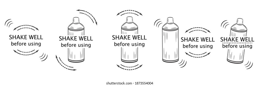 Shake well before using icon set. Shaker bottle outline with arrows and text. Symbol for packaging of spray aerosol сan, drinks, medicines, cosmetics or household chemicals product. Vector on white