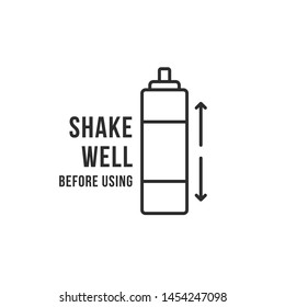 shake well black thin line bottle. concept of easy rule before using domestic spray. flat stroke style trend modern air freshener logotype graphic design isolated on white background