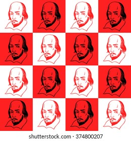 Shakespeare portrait seamless vector pattern. Literary, theatre background. Shakespeare portrait illustration with geometrical chessboard abstract background.