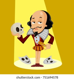 Shakespeare Vector illustration of Shakespeare as funny character with a skull, Main object and background in different layers, easy to edit.