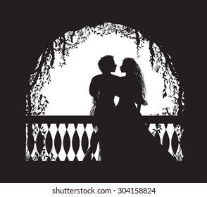 Shakespeare`s play Romeo and Juliet on balcony, romantic date, silhouette, love story, vector