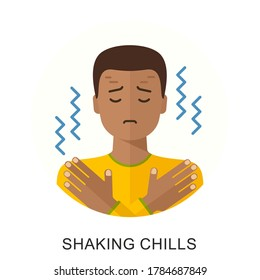 Shaking chills, feeling feverish, shaking body. Isolated flat style vector character illustration