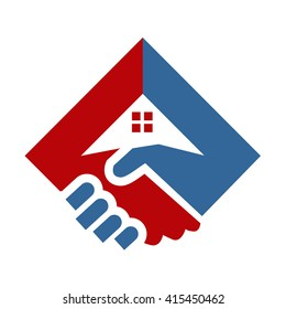 Shaking Hand and Home Logo