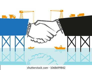 Shaking hands concept where it is being constructed by engineers as a bridge to connect and as partnership metaphor. Editable Clip?art .