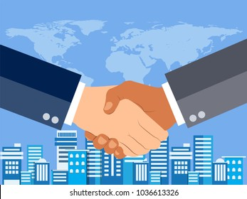 Shaking hands flat design concept. Handshake, business agreement. partnership concepts. Two hands of businessman shaking. Vector illustration on blue urban city scape and world map background.