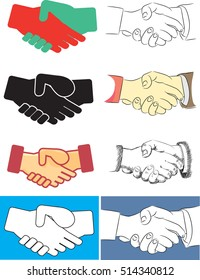 Shaking hands flat design concept. Handshake, business agreement, bet, partnership concepts. Two hands shaking each other. Vector illustration isolated on blue background