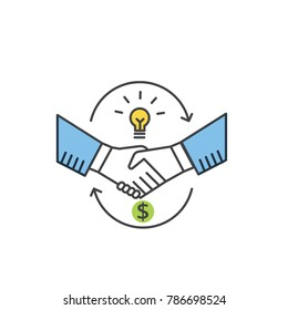 Shaking hands line vector icon. Partnership and handshake concept.