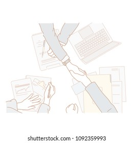 Shaking hands on a business table. hand drawn style vector doodle design illustrations.