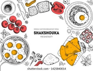 Shakshouka cooking and ingredients for shakshouka, sketch illustration. Israeli breakfast. Arabic cuisine frame. Breakfast menu design elements. Shakshuka, hand drawn frame. Middle eastern food.