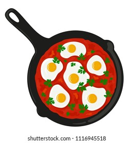 Shakshouka (shakshuka) served in a frying pan with parsley, top view. Traditional middle eastern (israeli, arab) dish made of eggs and tomato sauce. Vector hand drawn illustration.