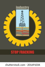 Shale drill rig, anti hydraulic fracturing illustration