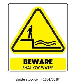 Shallow water sign. Eps 10 vector illustration.