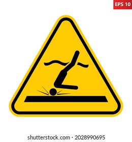 Shallow water sign. Vector illustration of yellow triangle warning sign with diver hitting bottom. Spinal cord injuries concept. Caution diving accident. Danger area with low water level.