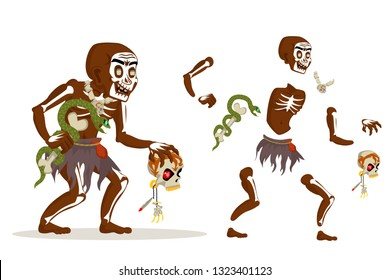 Shaman african voodoo witchcraft dungeon hoodoo dark wood evil minion fantasy medieval action RPG game character layered animation ready character vector illustration