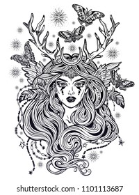 Shaman elf magic woman with deer antlers and long hair, nightn moths and butterflies. Alchemy, tattoo art, t-shirt design, adult coloring book page. Isolated vector on white background. Pagan goddess.