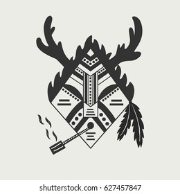Shaman - flat illustration of abstract tribal man smoking pipe with horns, fur & feathers. Vector art. Picture made with bezier curves & simple shapes.
