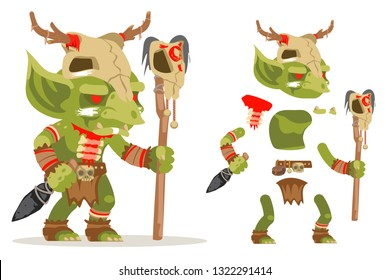 Shaman goblin dungeon dark wood evil monster minion fantasy medieval action RPG game character layered animation ready character vector illustration