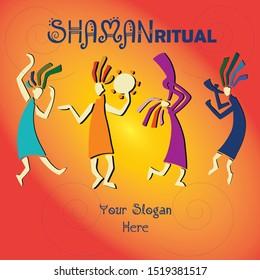 shaman ritual, etnic vector colorfull