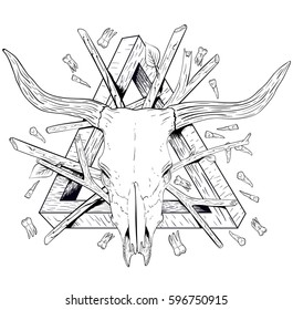 Shaman totem from the skull of yak branches, teeth and an impossible figure in the sketch style