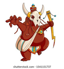 Shaman vector cartoon character. Hand drawn dark skinned voodoo with stick and animal mask. Tribal ritual dances. African ethnic culture. Tribe magician isolated clipart. Color flat illustration