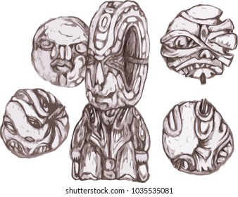 shamanic objects, a set of images. ritual and ethnic artifacts. northern motifs, vector.