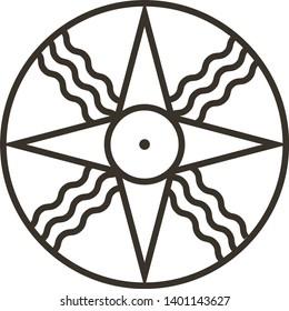 Shamash sun symbol, star of Ishtar, Sumerian Sun rays symbol