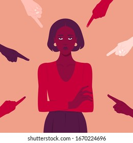 The shame. Hands of different people point to the girl adult. Portrait of a young woman. Different opinions and the pressure of society.Vector flat illustration