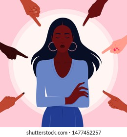 Shame. Hands of people of different nations point to the girl. Portrait of an African woman. Outsider opinion and the pressure of society.Vector flat illustration