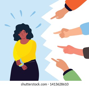 Shame - modern colorful flat design style illustration on white background. A composition with a sad girl feeling guilty or being bullied, fingers pointing at her. Psychological problems concept
