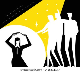 Shame - modern vector flat design style illustration. Black, white and yellow composition with a girl feeling ashamed, covering her head with a book, being afraid of the crowd. Psychological problem
