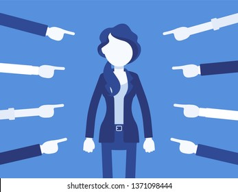 Shame on you, guilty woman. Female manager in painful feeling of humiliation, distress, wrong foolish behaviour, loss of respect, dishonour pointed by fingers. Vector illustration, faceless characters