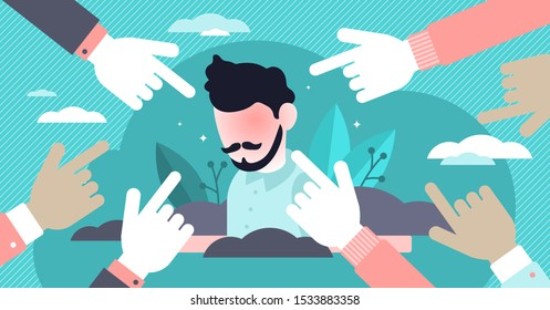 Shame vector illustration. Flat tiny negative emotion person concept. Unpleasant self conscious, withdrawal, distress, exposure, mistrust, powerless and worthlessness society feelings visualization.