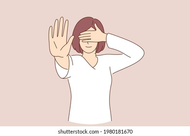 Shameful content and asking not to show concept. Portrait of confused girl in white shirt covering eyes with hand and showing stop gesture, feeling afraid to look vector illustration