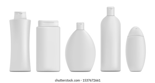Shampoo bottle mockup set - realistic white blank bathroom product container branding and packaging template collection isolated on white background, vector illustration