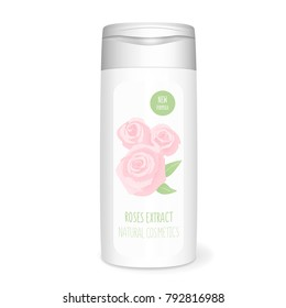 Shampoo bottle with roses, white mockup, 3D design concept
