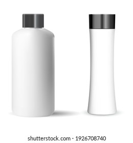 Shampoo bottle. White cosmetic package mockup blank. Hair beauty container, 3d pack isolated. Bathroom gel collection design, realistic illustration. Lotion tube, shower liquid, medical hygiene