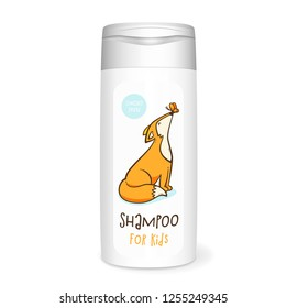 Shampoo bottle, white mockup with fox, 3D design concept for kids