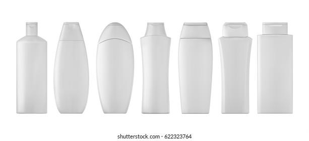 Shampoo bottles set on white background. 3D illustartion.