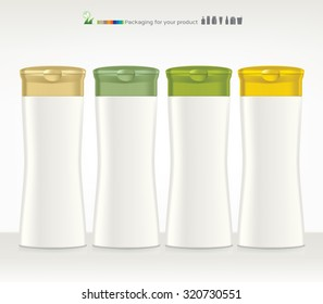 Shampoo, Gel Or Lotion White Plastic Bottle. Ready For Your Design. Product Packing