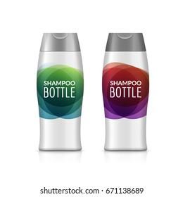 Shampoo plastic bottle or shower gel bottle template design. Vector blank mock up. Cream or lotion bath care.