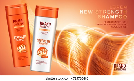 Shampoo premium ads, realistic cosmetic bottles of shampoo with different packaging designs, the effects of protection and shine and radiance of hair on a bright orange background, 3d illustration