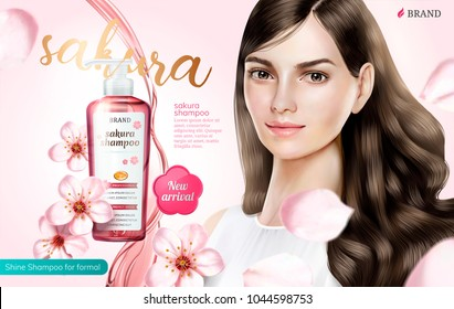 Shampoo product ads, attractive hair model with sakura shampoo in 3d illustration, flying sakura element on pink background