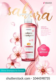 Shampoo product ads, pouring liquid with flying sakura elements in 3d illustration, pink background