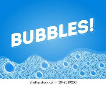 Shampoo Soap Bubbles in Bath or Sud. Vector. Transparent Foam on Blue water background.