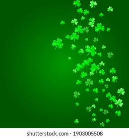 Shamrock background for Saint Patricks Day. Lucky trefoil confetti. Glitter frame of clover leaves. Template for gift coupons, vouchers, ads, events. Festive shamrock background.