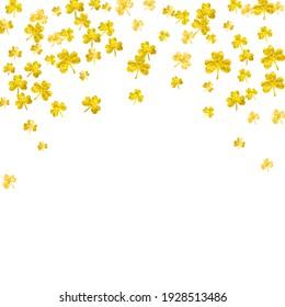 Shamrock background for Saint Patricks Day. Lucky trefoil confetti. Glitter frame of clover leaves. Template for party invite, retail offer and ad. Celtic shamrock background.