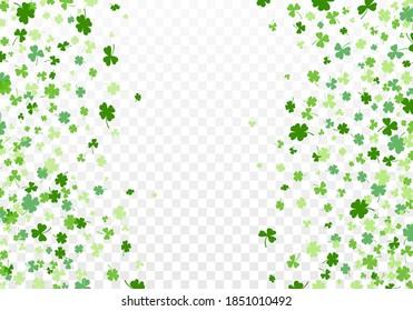 Shamrock or clover leaves flat design green backdrop pattern vector illustration isolated on transparent background. St Patricks Day shamrock symbols decorative elements.