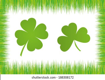 Shamrock/ Cloverleaf isolated Icons with grass frame